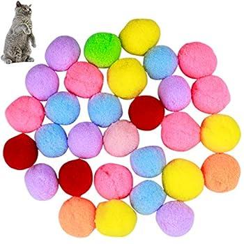 Natuce 30PCS Chat Balles Colorées 3CM, Balle élastique, Jouet Chat, Chat interactif Jouet, Coloré Chat en Peluche Balle Jouet Doux Chaton Pompoms, Peluche Balle pour Chat Chaton Chien