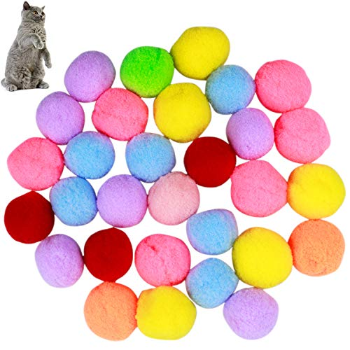 Natuce 30PCS 3CM Palline Giocattolo Gatto Morbido Palline, Giocattolo Palla Elastica Colorata Palla rimbalzante Animali Domestici Gatti Palle, Giocattoli per Gatti Giochi Interattivi Gatto con Palle