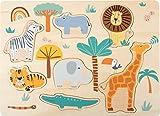 Small foot-11701 Safari, small foot Hecho de Madera, en Colores de modades a Partir de 2 años. Puzzles (11701)