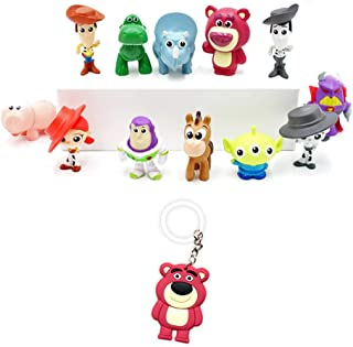Toy Story Figures – Premium Birthday Supply Figurines – Pack of 12 ToyStory Cake Toppers – Mini Party Favors + Lotso Keychain Action Figures for Kids & Adults