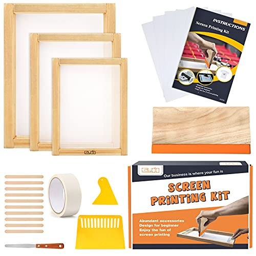 Product Image of the Caydo 23 Pieces Screen Printing Starter kit Include 3 Different Size of Wood...