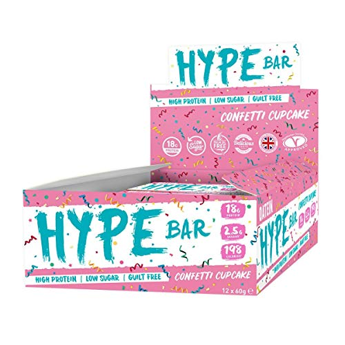 Oatein Hype High Protein Bar (12 x 60g), Low Sugar, Low Carb and Less Than 200 Calories - Confetti Cupcake Flavour