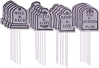 STOBOK Tombstone Pattern Cake Toppers Halloween Cupcake Toppers for Party Cake Decoration,24Pcs