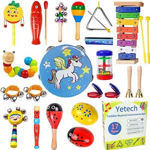 Yetech 25 Pcs Toddler Musical Instruments Set Percussion Instrument Toys Toddler Musical Toys Set Rhythm Band Set Birthday Gift for Toddlers Kids Preschool Children with Storage Bag