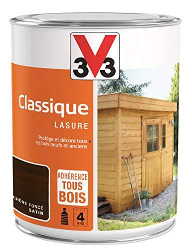 V33 109375 Bois Lasure Classique 4 ans, Chêne Foncé, 1L