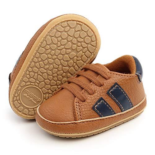 RVROVIC Baby Jungen Mädchen Sneaker Anti-Rutsch Oxford Loafer Flats Säugling Kleinkind PU Leder Weiche Sohle Baby Schuhe, 2 braun, 12-18 Monate