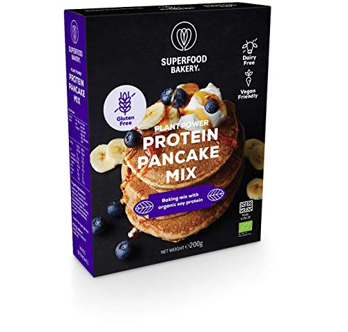 SUPERFOOD BAKERY - Plant Power Organic Protein Pancake Mix: Organic, Gluten Free, Dairy Free, Vegan Friendly and Deliciously All-Natural Baking Mix with Soy Protein (200g, Makes 12 Pancakes)