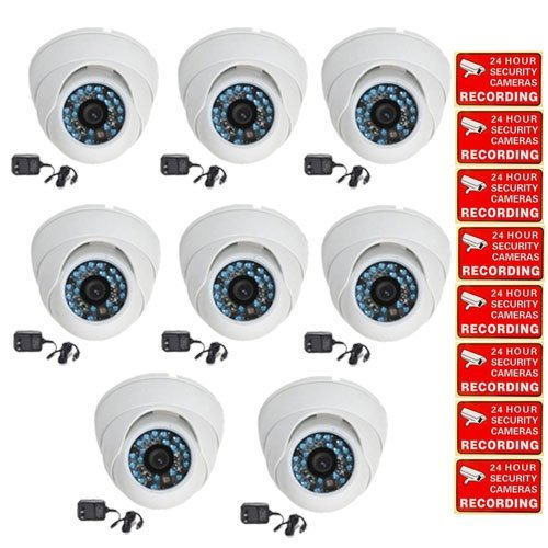 VideoSecu 8 Pack Outdoor IR Dome CCTV Security Cameras Day Night Home Surveillance Infrared Color CCD Wide Angle Lens with Bonus Power Supplies and Security Warning Stickers CCW