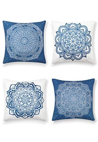 SUMGAR Fundas de Cojín Mandala de Azul y Blanco de Boho Lino Indio Fundas de Almohada Decorativas de Bohemio Para Sala de estar Sofá Cama Coche 45x45cm Paquete de 4