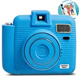 SHARPER IMAGE Instant Camera with Flash & 5 Lighting Modes, Compatible with Instant Mini Film, Blue