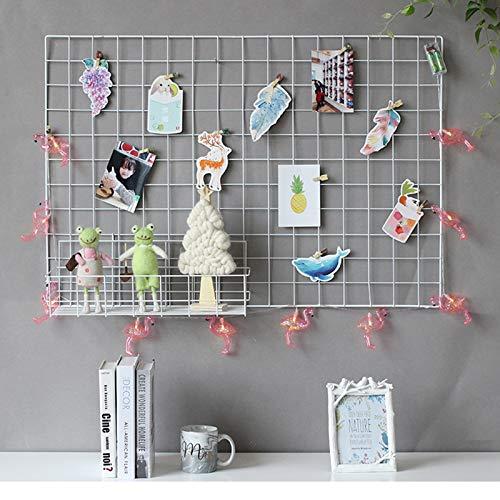 GBYAN Panel de rejilla de pared Paquete de 2 exhibición de fotos colgante tablero de notas multifuncional organizador de pared (blanco)