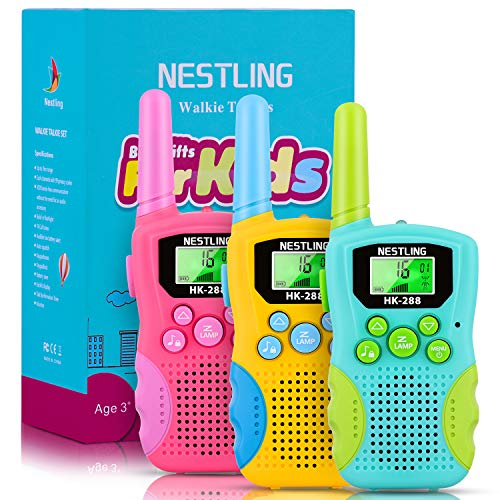 Nestling Kids Walkie Talkies 3 Pack, 8 Channels 2 Way Radio Walky Talky Toys with Backlit LCD Flashlight, 3 Miles Range Best Gifts Toys for Boys & Girls Indoor Outdoor Activity