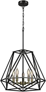 Globe Electric 65435 Sansa 5-Light Chandelier, Dark Bronze, Antique Brass Accents