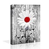 bathroom wall decor red Gray Daisy Flowers abstract Wall Art Contemporary Decorative Modern Floral Canvas Artwork Daisy Flower Vase Picture Giclee Print on Canvas Picture Paintings Wall Decor for Bath