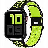 Fengyiyuda Sostituzione sportiva in silicone compatibile con cinturino Apple Watch 38 mm 40 mm 42 mm 44 mm, compatibile con iWatch serie 6/5/4/3/2/1/SE black/volt-42/44-L