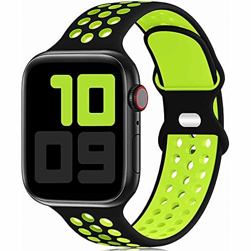 Fengyiyuda Reemplazo Deportivo de Silicona Compatible con Correa Apple Watch Pulsera 38 mm 40 mm 42 mm 44 mm, Pulsera Suave y Transpirable para iWatch Series 6/5/4/3/2/1 / SE black/volt-42/44-L