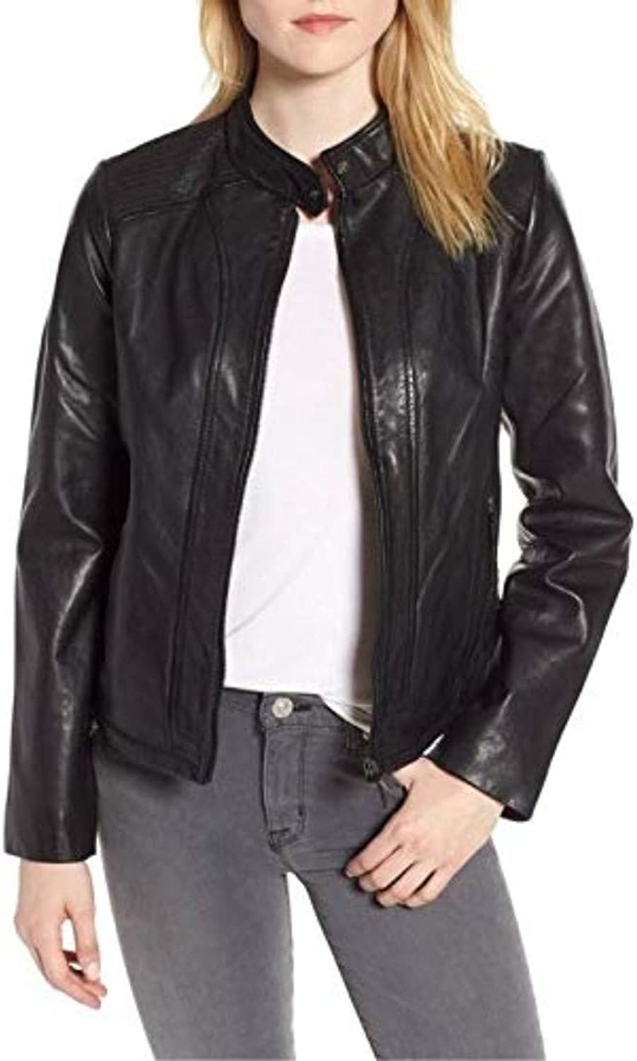 New Fashion Style Women's Leather Jackets Black L40_