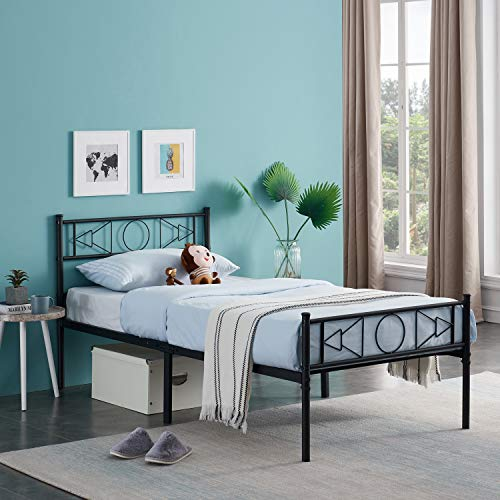 GrandCA 3ft / 4ft 6 Bed Frame, Metal Bed Frame with sound Pattern, with Large Storage and for or Adults, Black (196 x 95 cm)