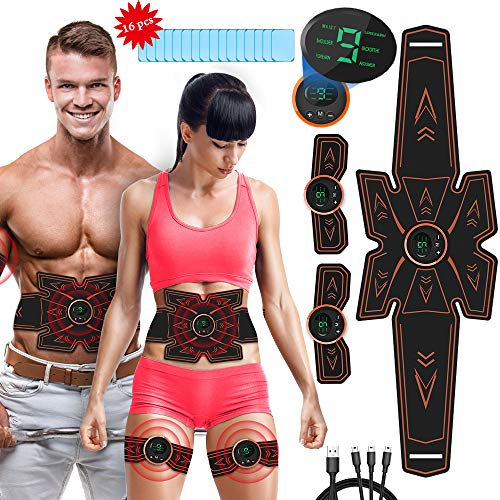 Estimulador Muscular Abdominales, EMS Electroestimulador Muscular Abdominales, ABS Estimulador Muscula para Hombre/Mujer, Abdomen Brazo Piernas Glúteos, Almohadillas de Gel 16pcs (Negro1)