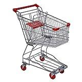J+N Einkaufstrolley Supermarkt Einkaufswagen Metall-Trolley Lager Apotheke KTV-Speicher-Karren 60L Double-Layer-Truck Folding Wagen