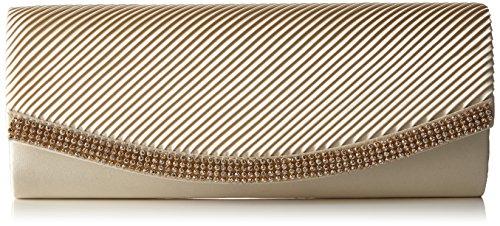 Berydale Damen Satin Handtasche mit Strassbesatz, Clutch Schultertasche mit Zusatzkette und Magnetverschluss, Elfenbein