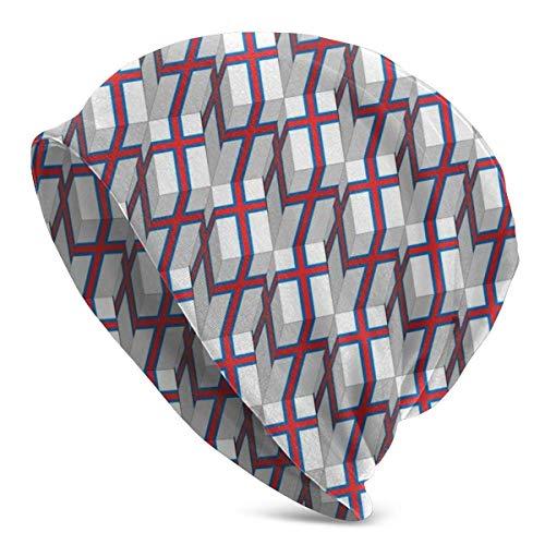 ARBITRA Färöer Islanaden Flagge 3D Art Pattern Beanie Männer Frauen - Unisex Winter Warm Cuffed Plain Slouchy Skull Täglich Strickmütze Cap Bla