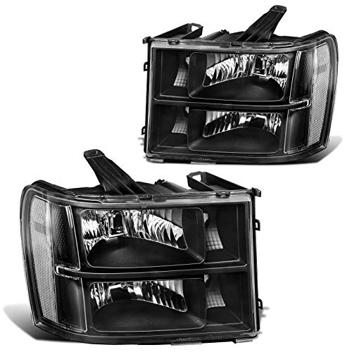 AUTOSAVER88 Headlight Assembly Compatible with 2007-2013 GMC Sierra 1500/2007-2014 Sierra 2500HD 3500HD Black Housing Clear Lens (Driver and Passenger Side)