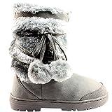 Botas de invierno impermeables, con pompones, para mujer, color Gris, talla 40