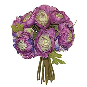 PURPLE LAVENDER Ranunculus Bridal Bouquet Wedding Centerpiece Silk Flowers