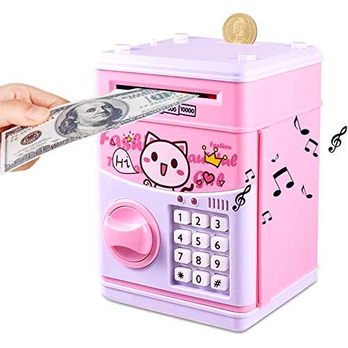JUNEU hucha electrónica para niños, banco de dinero con contraseña linda cajero automático, caja de ahorro de dinero, gran juguete...