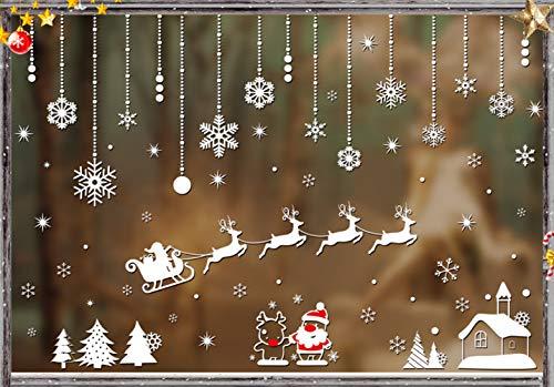 Weihnachtsdeko Fenster,Fensterbilder Weihnachten,Schneeflocke Fensteraufkleber,PVC Fensterdeko Selbstklebend,Weihnachts Fenster Dekoration,Aufklebe Weihnachtsmann,Schneeflocken Fenster,Fenstersticker