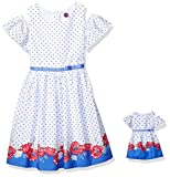 Dollie & Me Cold Shoulder Dress Set with Matching Outfit-Girl & 18 Inch Doll Clothes, White, 4