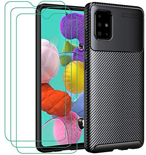 iVoler Cover per Samsung Galaxy A51 + 3 Pezzi Pellicola Vetro Temperato, Fibra di Carbonio Custodia Protezione in Morbida Silicone TPU Anti-Graffio e Antiurto Protettiva Case - Nero