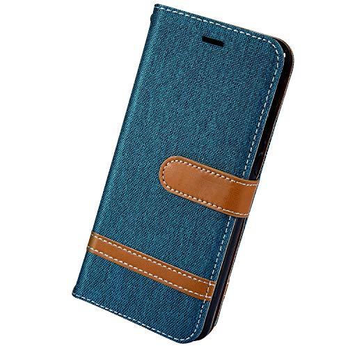 Herbests Kompatibel mit Xiaomi Redmi 7A Handy Hülle Herren Männer Retro Vintage Leder Hülle Schutzhülle Flip Case Cover Brieftasche Wallet Tasche Kartenfach Standfunktion,Grün