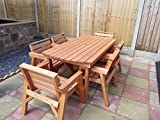 6' Table & 6 Chairs. Solid <span class='highlight'>Wooden</span> <span class='highlight'>Garden</span> <span class='highlight'>Furniture</span> Set. * SUPER STURDY *