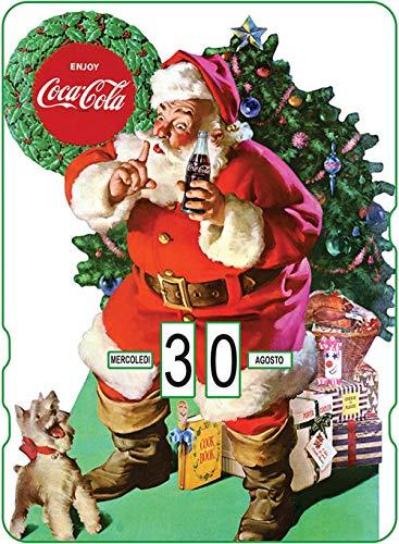 Calendario perpetuo Coca-Cola: Babbo Natale con regali vicino del albero