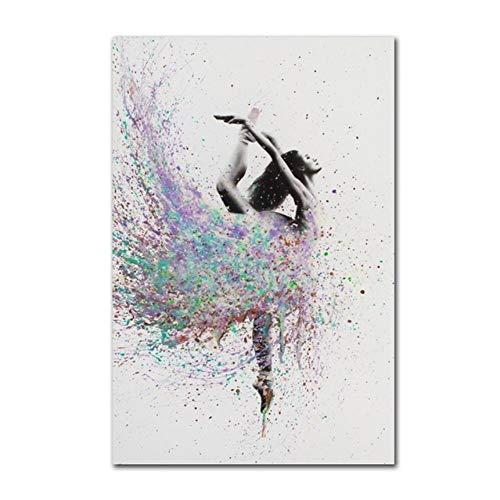 LWLNB Dekorative Gemälde Wanddekoration Leinwand Modulare Drucke Hd Wandkunst Bilder Stil Abstrakte Ballerina Mädchen Poster Malerei Für Wohnzimmer Dekoration