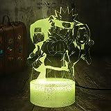 Cool Anime Figura Uzumaki Naruto 3D LED noche luz RGB 7 colores Crackle base blanca lámpara de escritorio decoración del hogar niños lámpara de cumpleaños