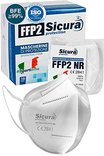 Eurocali 10 Mascherine FFP2 Certificate CE Italia - Made in Italy - BFE ≥99% - Mascherina Italiana SANIFICATA e sigillata singolarmente. Prodotta e Confezionata in Italia (Scatola da 10)