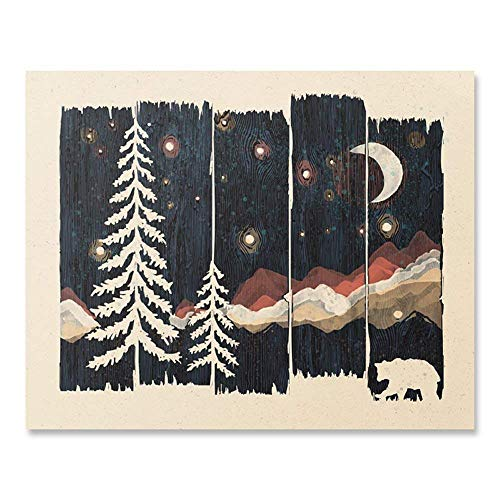Starry Night Sky Decor Arts Print For Wall - Beautiful Outdoor Wilderness Inspiration Picture of A Bear in the Forest Unframed Wanderlust Illustration 8 x 10 Inches Mountain Decor