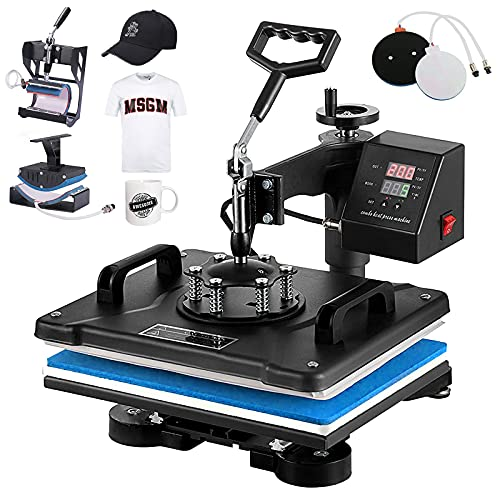 SURPCOS Heat Press Machine for T Shirts 5 in 1 Tshirt Printing Press Machine 12'x 15' Digital Tshirt Printer Sublimation Machine Swing-Away Printing Machine for T Shirts Hats Mug Plate (Bule, 5 in 1)