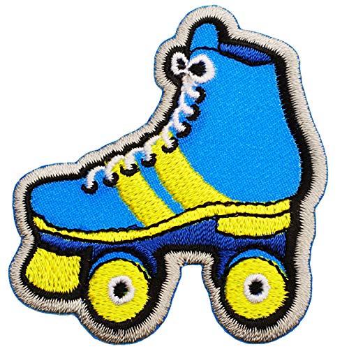 alles-meine.de GmbH Selbstklebender Textil Sticker / Bügelbild - Rollschuhe - Roller Skates - 5,9 cm * 5,5 cm - Aufnäher / Aufkleber / Applikation / Aufbügler - gestickter Flicke..