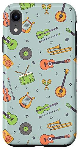 iPhone XR Vintage Music Instruments Guitar Lyre Viola Mandolin Pattern Case