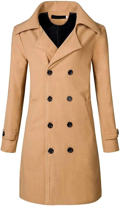 Generic Men's Double Breast Wool Blend Pea Coat Jacket Windbreaker