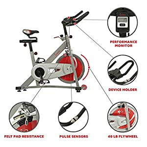 Sunny Health & Fitness Indoor Cycling Exercise Bike Workout Machine Stationary Bike with 40 LB Flywheel and Dual Felt Resistance - Pro/Pro II