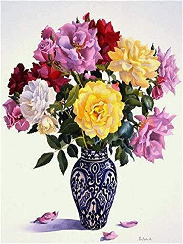 Pintura por número/kit de pintura DIY para adultos y niños, lienzo preimpreso para principiantes (sin marco) 40 * 50cm / Jarrón de porcelana azul y blanca