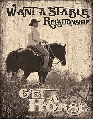TLNPU Letrero de lata con texto en inglés 'Want A Stable Relationship Get A Horne' (8 x 30 cm)