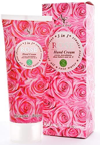 Feuchtigkeitsspendende Anti-Age Handcreme 75ml mit Natürliches Rosenöl, Rosenwasser, Kakao, Macadamia, Sheabutter und Vitamin E, Handpflege für trockene und empfindliche Haut