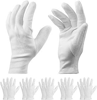 10 pares de guantes de algodón blanco – Guantes terapéuticos hidratantes cosméticos para manos secas, ecczema, belleza, monedas, joyería e inspección de plata – Unisex