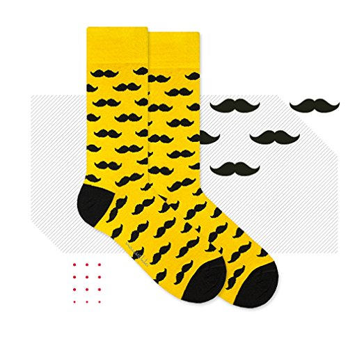 Nanushki sokken - beter dan Happy Socks (EUR 44 - 46 UK 9 - 11, Mr Yellow Mustache)